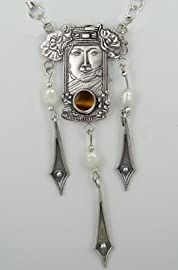 A Stunning Sterling Veiled Goddess Necklace with Genuine Tiger Eye Made in America
