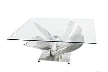 DuNord Design Couchtisch Glastisch NAUTILUS 85cm Schiffschraube Wohnzimmertisch Beistelltisch