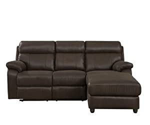 Homelegance Gaines 9609* 2-Piece Sectional Sofa with Reclining-Back Chaise, Chocolate Bomber-Jacket Microfiber