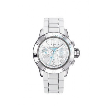 Jaeger LeCoultre Master Compressor Opaline White Dial White Leather Diamond Ladies Watch Q1888420