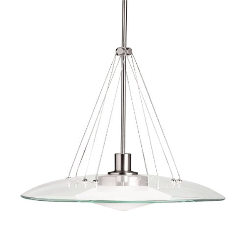 Kichler Lighting 2667NI Structures 1-Light Halogen Pendant, Brushed Nickel with Satin-Etched Glass