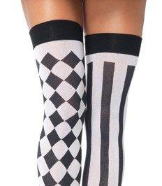 Leg Avenue Inc Women'S Harlequin Thigh Highs Black/White One Size