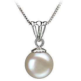 PearlsOnly Nancy White 9.0-9.5mm AA Freshwater Sterling Silver With Rhodium Plated Cultured Pearl Pendant