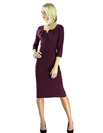 "Mikarose Women's ""Katherine"" Modest Dress, XS, Plum"