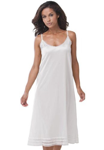 Comfort Choice Women'S Plus Size Snip-To-Fit Dress Liner (White,1X)