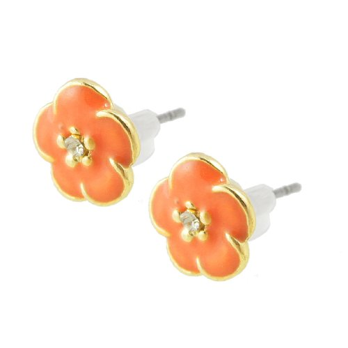 Lady Pair Rhinestone Decor Orange Gold Tone Flower