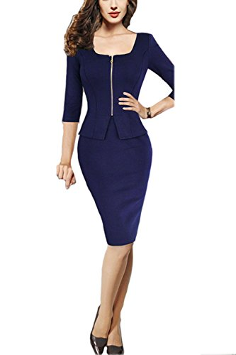 Viwenni-Womens-Square-Neck-Busniess-Peplum-Fitted-Casual-Bodycon-Dress