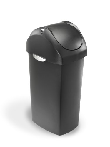 simplehuman Swing Lid Trash Can, Grey Plastic, 60 L / 16 Gal