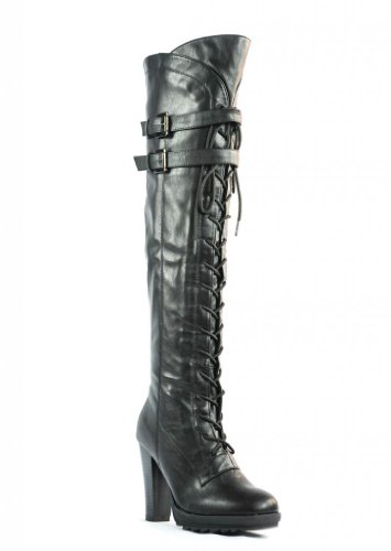 Image of Dream Pairs Lacey Over Knee High Heel Lace up Zipper Closure combat Boots