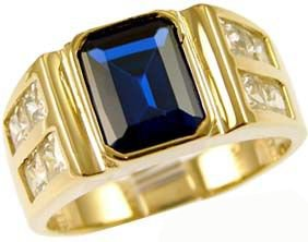 14K Yellow Gold, Fancy Ring For Men Guy Gent With Brilliant Lab Created Gems Dark Blue Center