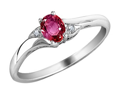 Ruby Gemstone Ring with Diamonds in 10K White Gold, Size 6.5