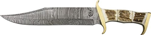 Colt Damascus Bowie Fixed Blade Knife, 10.75""