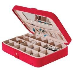 Sueded Jewelry Box with 24 Sections in Red - Maria - Jewelry Boxes by Mele - 0054522M
