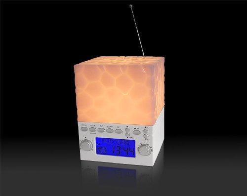 Lichtwecker & Nachtlicht – wake up light mit 4 Naturklängen Radiowecker in 6 verschiedenen Farben