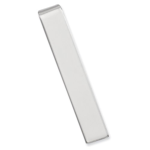 Rhodium-plated Polished Tie Bar FREE ENGRAVING Perfect Christmas Gift Idea