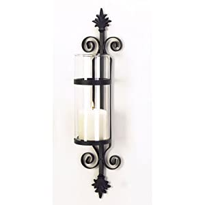 Amazon.com: New French Fleur De Lis Hurricane Glass Pillar Candle Holder Wrought Iron Wall ...