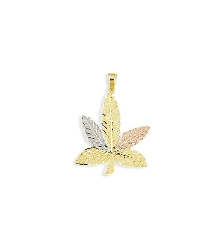 14k White Yellow Rose Gold Marijuana Leaf Charm Pendant
