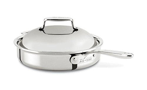 All-Clad SD754036 D7 18/10 Stainless Steel 7-Ply Bonded Construction Dishwasher Safe Oven Safe Roaster Pan Saute Pan, 3-Quart, Silver (All Clad 3 Qt Saute Pan compare prices)