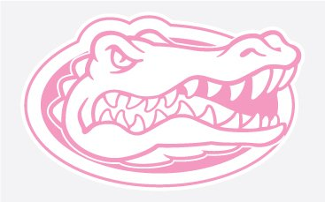 "Florida Gators Gator Head In Pink 4"" Vinyl Decal Car Truck Window Sticker Uf"