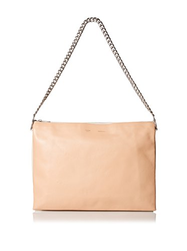Céline Women's Leather Shoulder Bag, Peach/White/Yellow