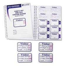 C-Line Time's Up Self-Expiring Visitor Badges with Registry Log, 2 x 3 Inches, White, 150/Box (97009)