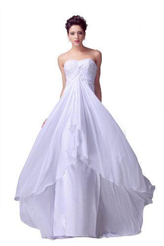 Onlyuswedding Women'S Chiffon Silk Strapless Floor Length Applique Evening Dress Dh0007-Xx-Large White