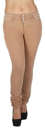 U-Turn Style 381 - Brazilian style butt lifting, Levanta cola, Knit poly cotton fashion Moleton, skinny leg in Beige
