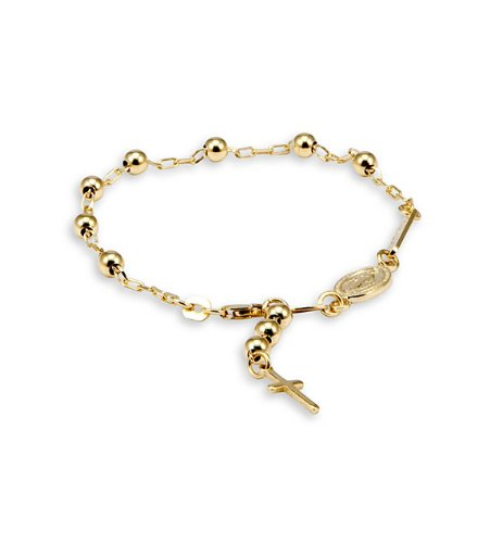 14k Yellow Gold Cross Religious Cable Rosary Bracelet