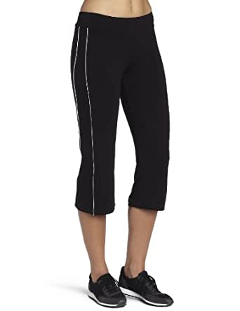 Spalding Women's Piped Bootleg Crop Pant, Black/White, Small