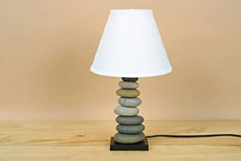 decorative stone cairn table lamp with linen fabric shade for bedroom or living room modern. Black Bedroom Furniture Sets. Home Design Ideas