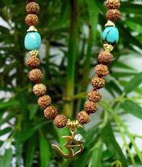 Anga Om Mala - 22k Gold with Turquoise & Rudraksha