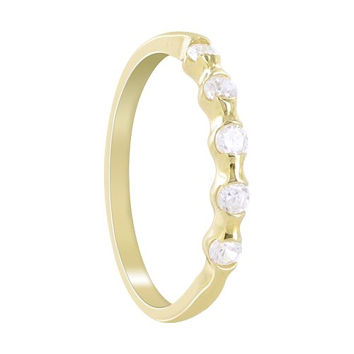 18 KT Gold over Sterling Silver 2mm Band 5 Stone CZ Vermeil Ring Size 10