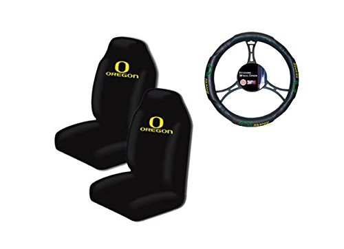 A set of 3 Piece Automotive Gift Set: 2 Highback Seat Covers and 1 Wheel Cover - Oregon State Ducks (Oregon Ducks Car Seat Covers compare prices)
