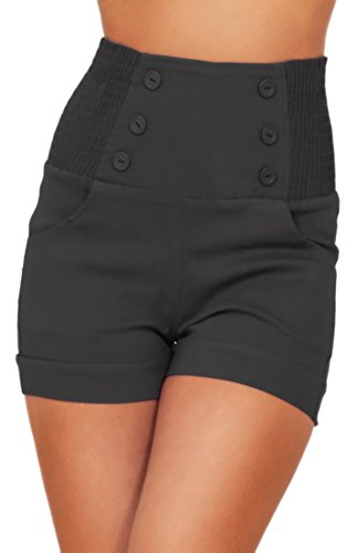 High Waisted Sophisticated Trendy Chic Front Button Vintage Inspired Shorts, Midnight Black, L (Vintage High Waisted Jean Shorts compare prices)