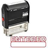 ENTERED Self Inking Rubber Stamp - Red Ink (42A1539WEB-R)