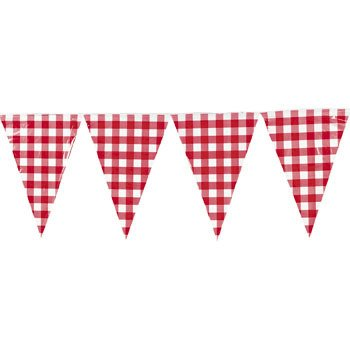 Red Gingham Pennant Banner