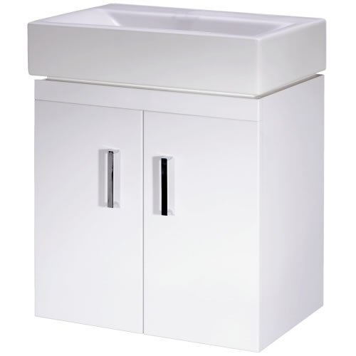 Trueshopping 450mm Gloss White Wall Mounted Bathroom Vanity Unit Ceramic Basin Compact Cloakroom Furniture Suite Storage Fully Assembled