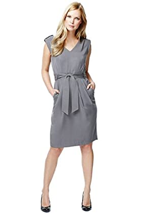 V-Neck Epaulettes Utility Dress with Belt