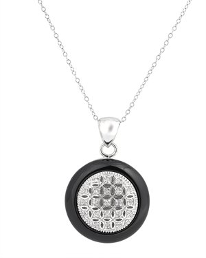 Unisex Style Sterling 925 Silver Necklace Featuring Black Onyx & CZ Diamonds Pave Pendant - Incl. ClassicDiamondHouse Free Gift Box & Cleaning Cloth