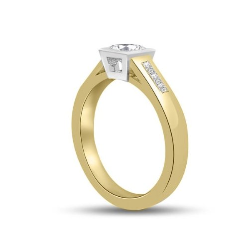 0.60 carat Diamond Engagement Ring for Women. G/SI1 Solitaire Princess Cut with Shoulder set Diamonds 18ct Yellow & White Gold