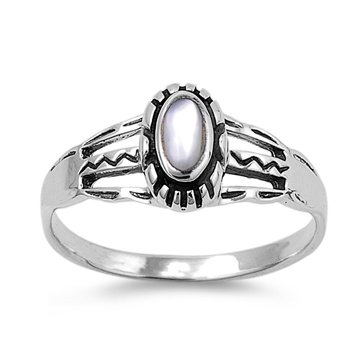 9Mm .925 Italian Sterling Silver Genuine Oval Mother Of Pearl Ring Sizes 5-10 (9)