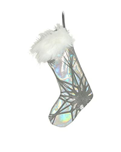 Aviva Stanoff Silver & Grey Double Starburst Stocking with Faux Fur Trim