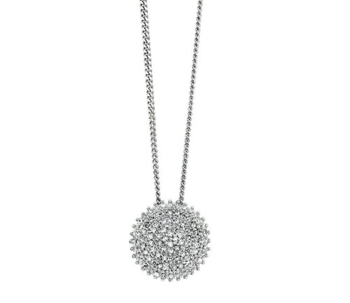 9ct White Gold Pave Disc Pendant and Necklace with 0.25ct Genuine Diamonds (Includes Extendable Curb Chain: 16