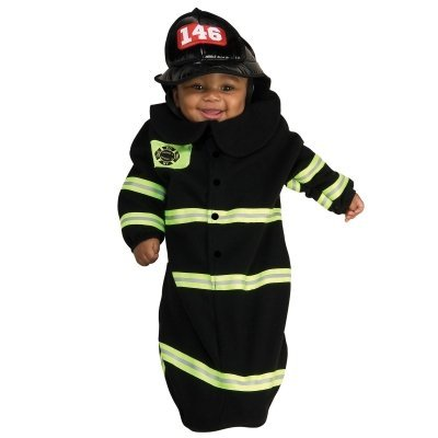 Firefighter Deluxe Bunting Infant Costume Black Infant (0-9 Months)
