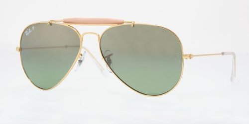 Ray Ban Men's Rb3407 Outdoorsman Ii Rainbow Gold Frame/Green Mirror Polarized Lens Metal Sunglasses, 55mm