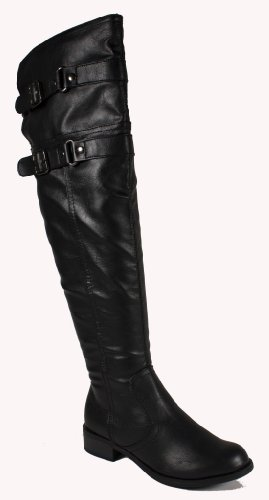 Ride! By Soda Super Sexy Thigh-high Riding Style Biker Boots with Double Buckle Strap and Stacked Comfy Heels, black leatherette, 6 M