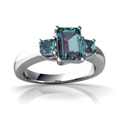 Created Alexandrite 14ct White Gold Trellis Ring