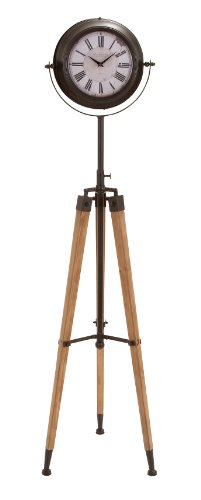 Antiqued Metal Tripod Floor Clock