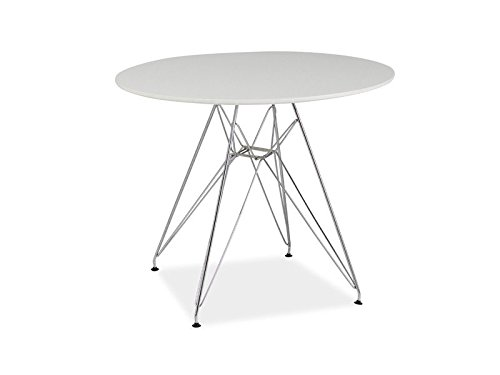 tisch nitro rund 90cm k chentisch esstisch matt wei metallgestell com forafrica. Black Bedroom Furniture Sets. Home Design Ideas