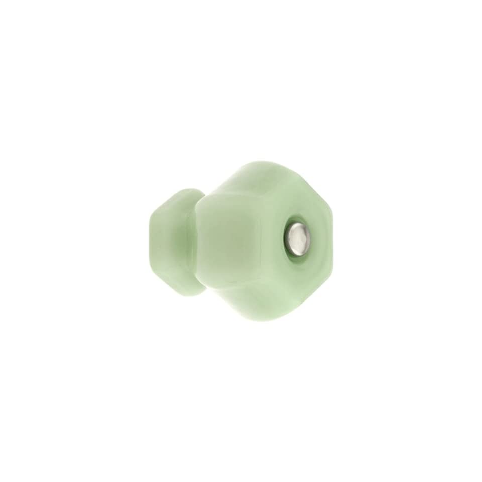 Large Hexagonal Milk Green Glass Cabinet Knob With Nickel Bolt. Dresser Knobs.